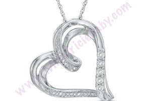 $19.99 Diamond Accent Tilted Ribbon Heart Pendant (Reg. $99.00)