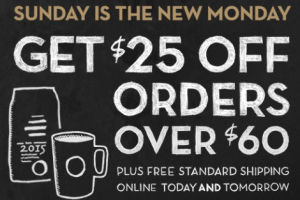 HOT: $25 OFF $60 Starbucks + FREE Shipping!!!