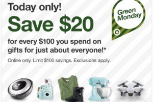 Target: $20 OFF Every $100 you spend Today ONLY (12/11)